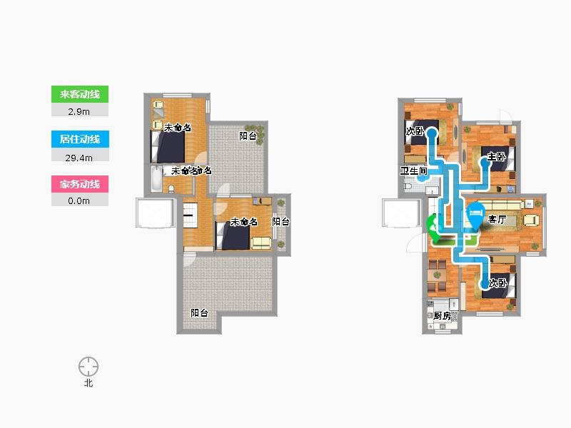 欧式花园三室两厅一卫加一室一厅一卫复式户型图大全图片