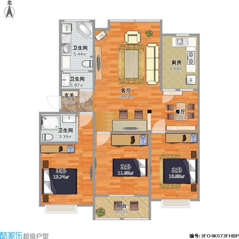 沁水丽庭109三室两厅两卫户型图大全
