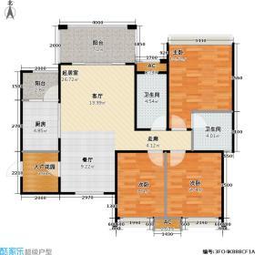 南湖公馆87.01㎡南湖公馆二期87.01平米三室两厅两卫F4户型3室2厅2卫
