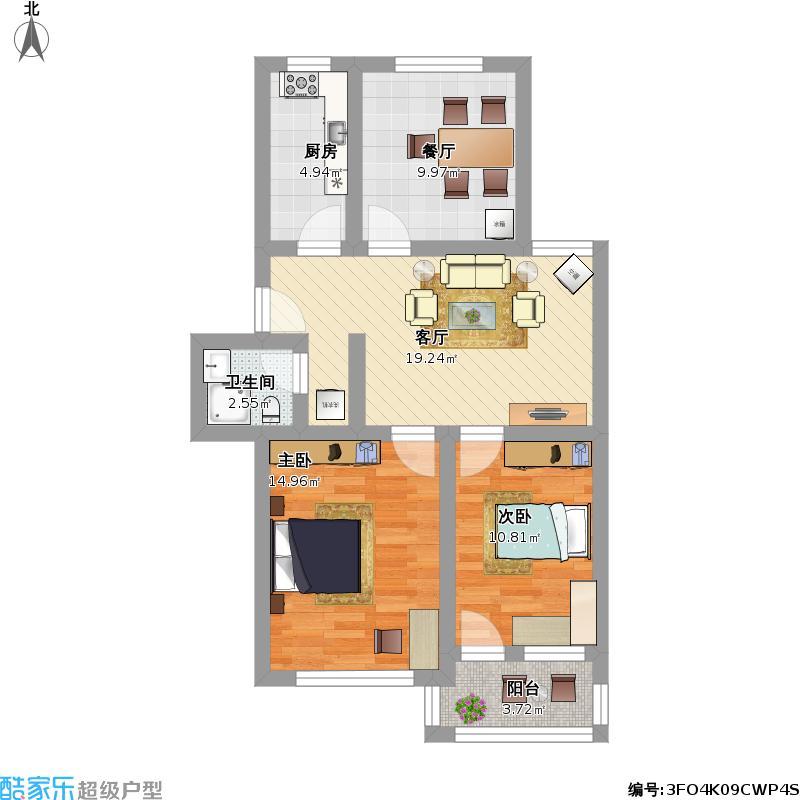 户型设计 三室一厅  山东 枣庄 老房子 套内面积:66.