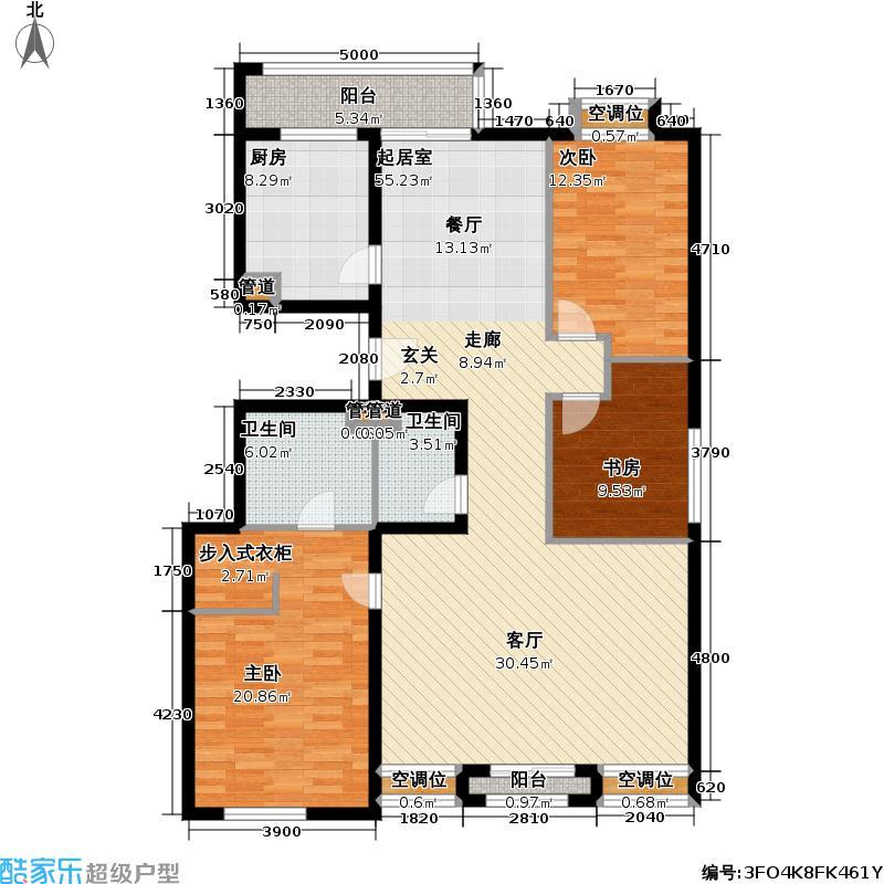 户型设计 恋日花都9号楼顶18f户型  北京 恋日花都 套内面积:124.