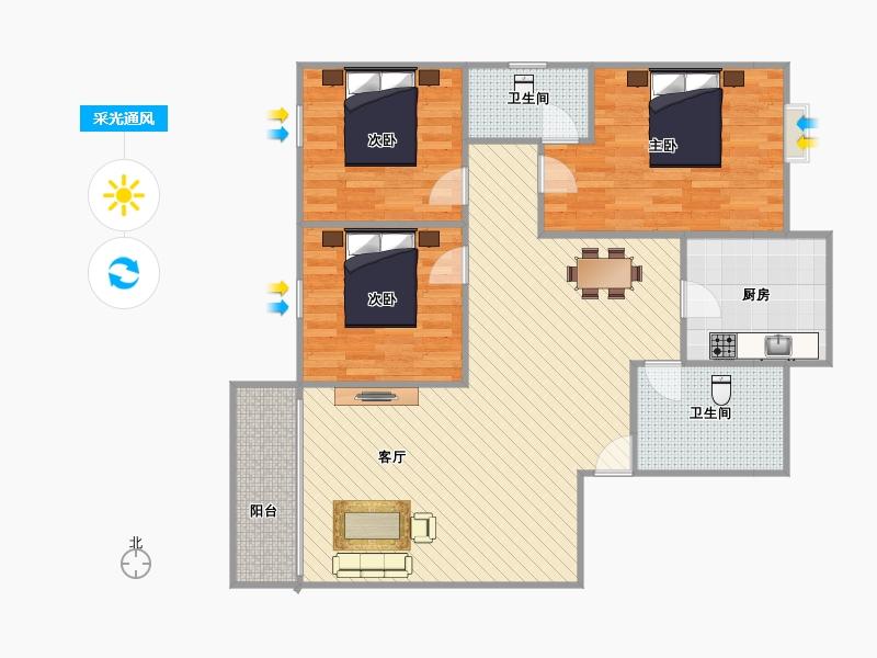 户型设计 120几平三房两厅两卫