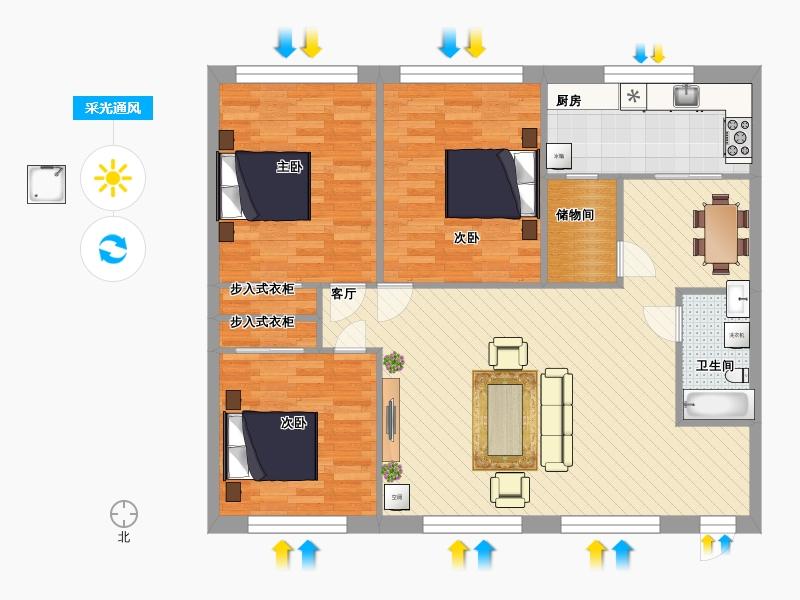户型设计 自建三室两厅