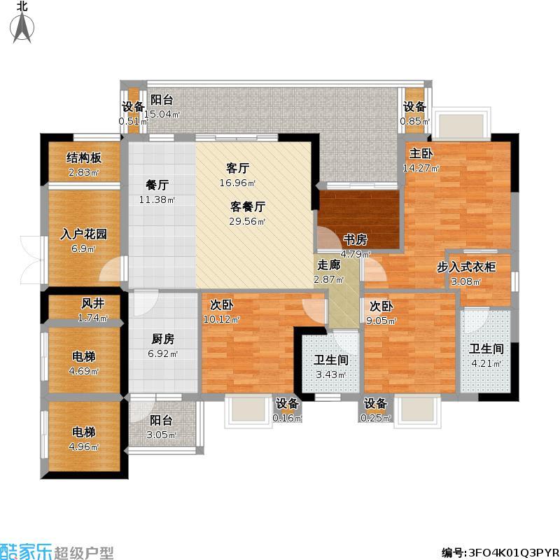 5惠水水岸国际+b2-1四室两厅双卫户型图大全