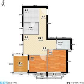 海韵假日家园67.91㎡二房二厅一卫户型2室2厅1卫