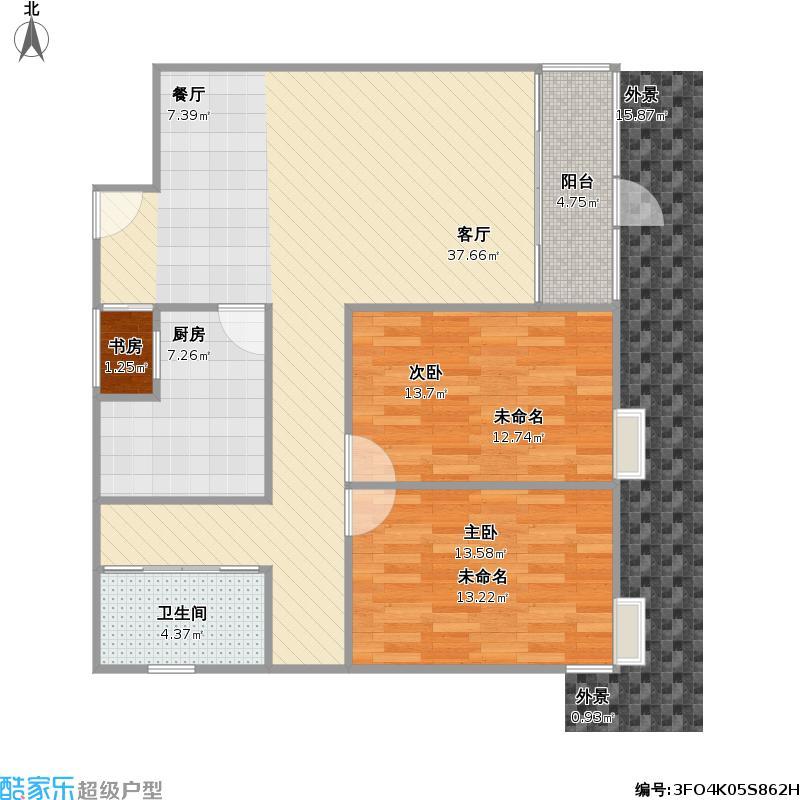 户型设计 90a1户两室一厅  江西 南昌 沿海丽水佳园 套内面积:81.