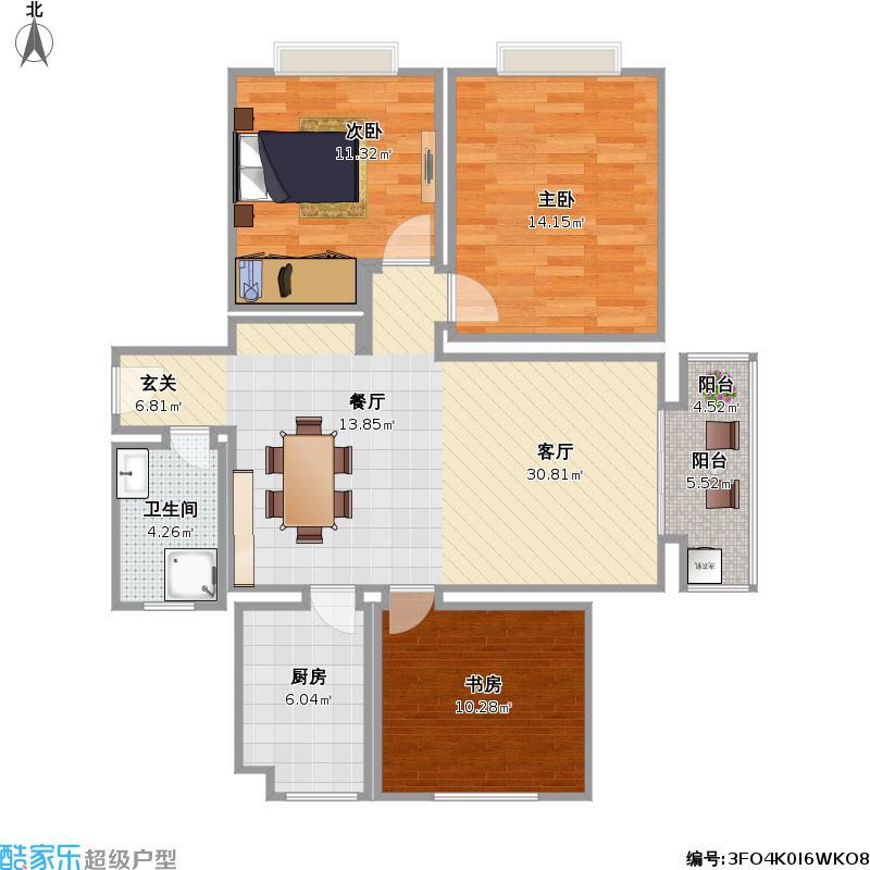 湖岛世家g户型三室一厅