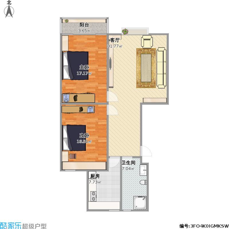 戶型設計 90平兩室一廳圖片