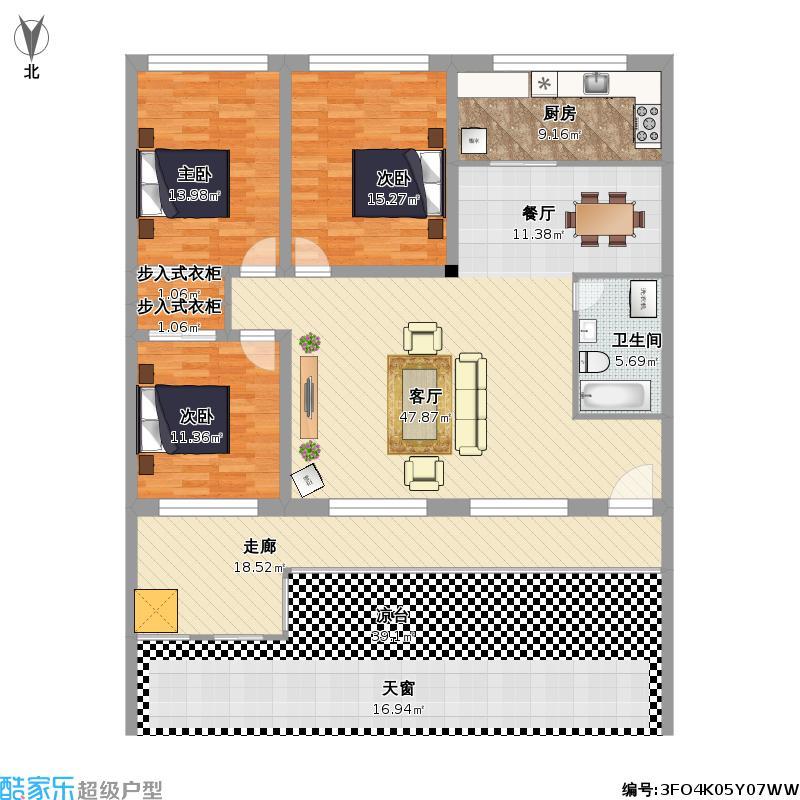 三室一厅房屋平面设计图展示