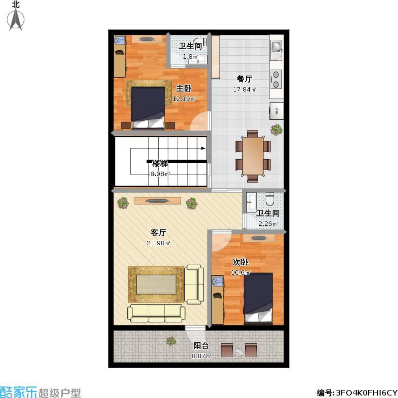 农村一厅二房平面图_平面设计图图片