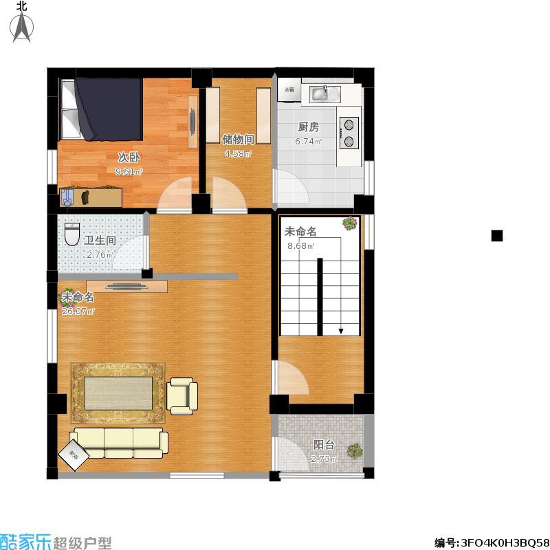 户型设计 自建房(二层)南面挑出1.5米(坐东北向西南)  建筑面积:68.