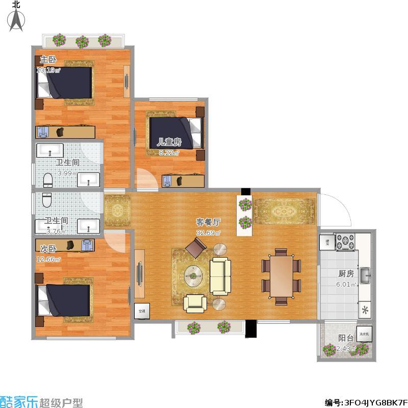 110平米三室两厅平面设计图