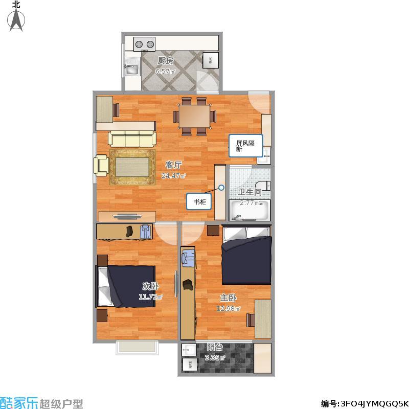 户型设计 zj两室一厅3  陕西 西安 未知小区 套内面积:61.