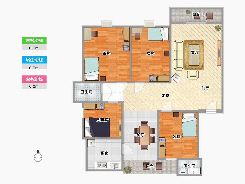 三室一厅一卫户型图150平 图