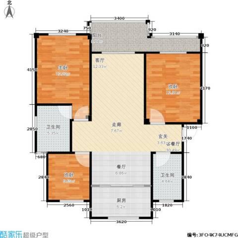 红豆佳苑一期未命名户型3室1厅2卫1厨-副本