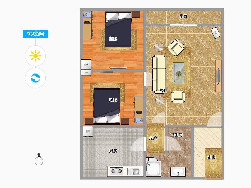 60平米两室一厅一卫设计图展示图片