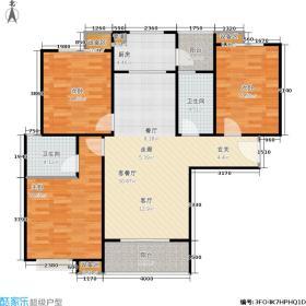曲江紫金城118.98㎡图为曲江紫金城118.98平米三室两厅两卫户型3室2厅2卫