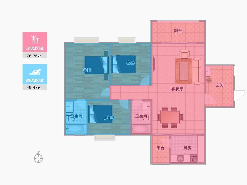 130平米三室两厅简欧装修设计图展示