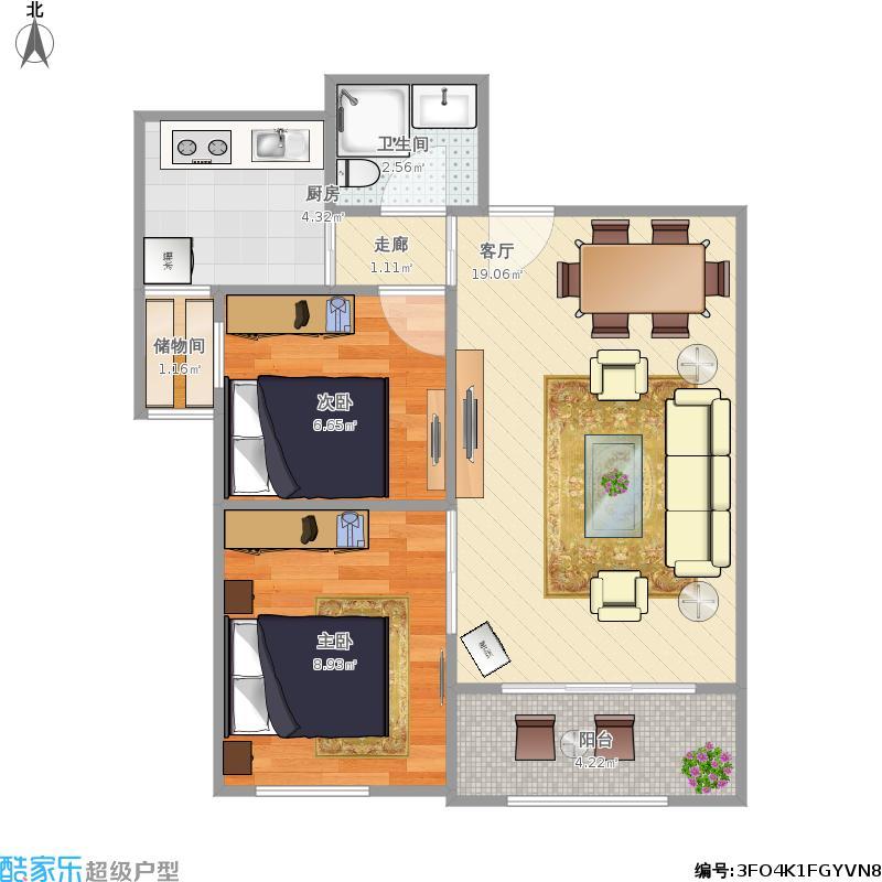 80平方两室一厅房屋设计图展示
