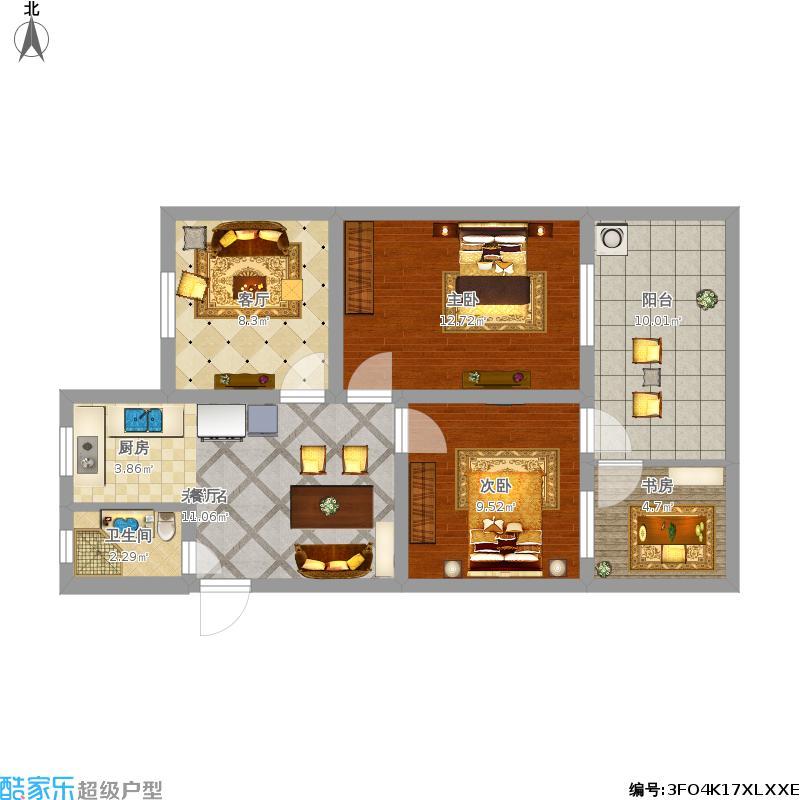 66.5方小户型三室一厅