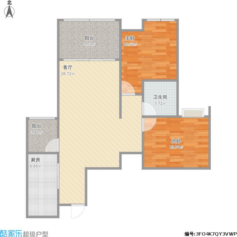 户型设计 两室一厅一厨一卫  重庆 首创鸿恩国际生活区三期 套内面积