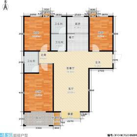都市桃源120.60㎡D1-三室两厅两卫户型3室2厅2卫