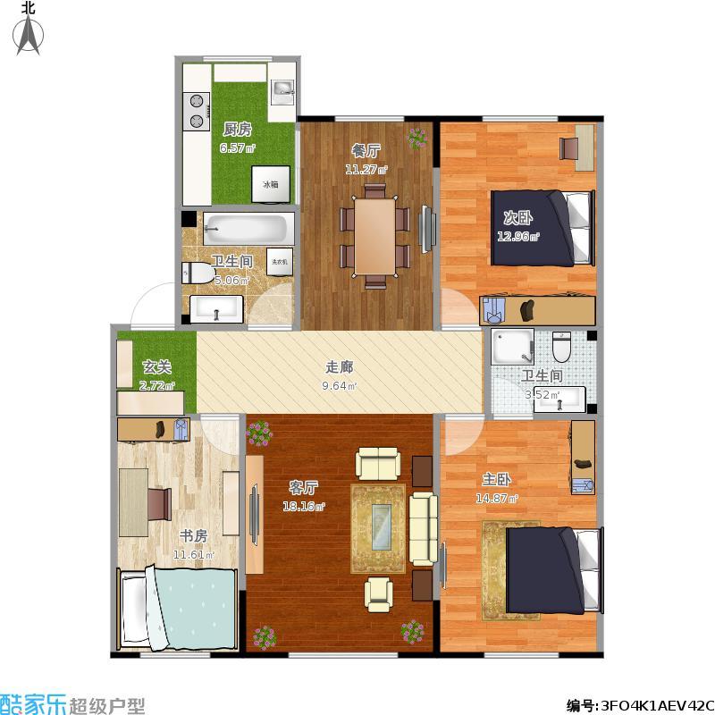 119平方三室两厅两卫户型图大全
