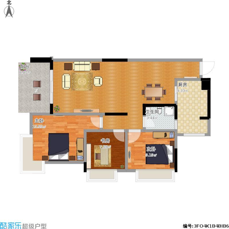 108方3户型三室一厅