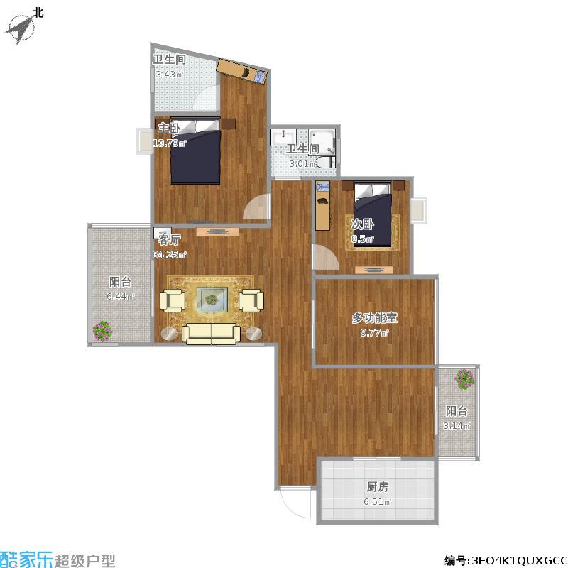 户型设计 120方三房两厅  湖北 武汉 三和光谷道 套内面积:88.