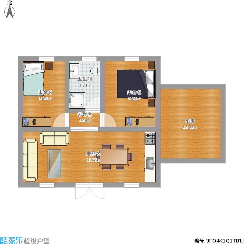 新农村自建房图纸免费下载小户型别墅两室带车库的图