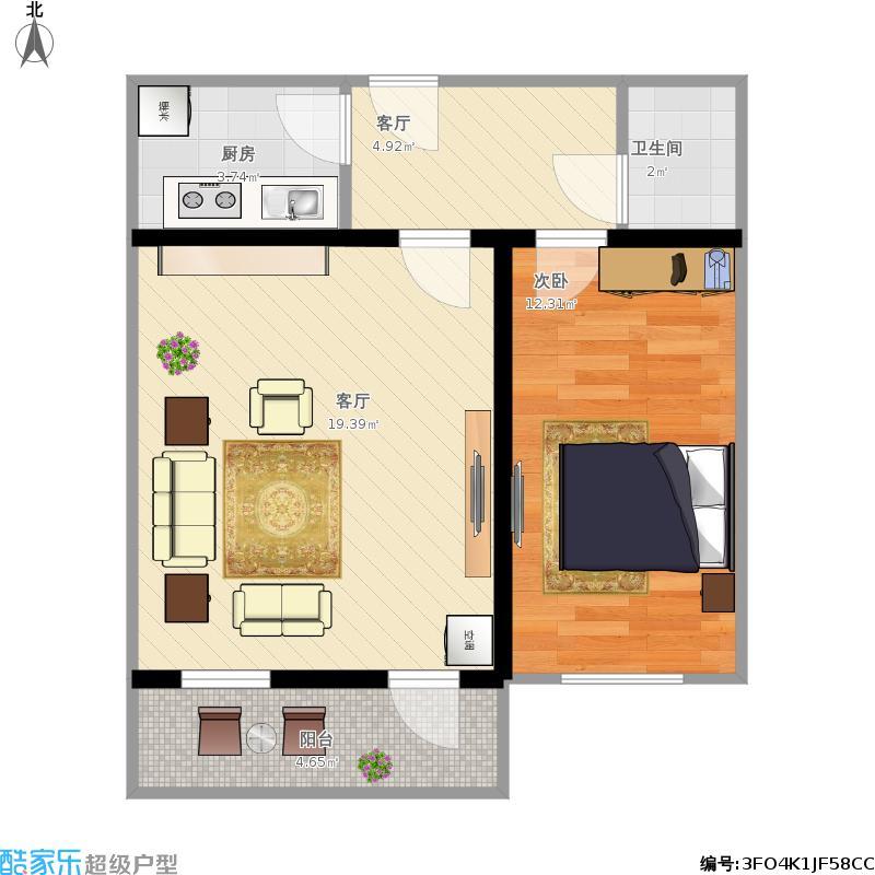 户型设计 一室一厅  北京 东大桥路 套内面积:47.