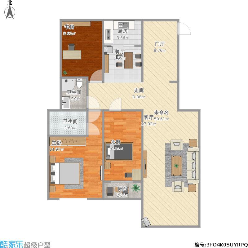 户型设计 129三室两厅  河南 周口 芙蓉佳源 套内面积:98.