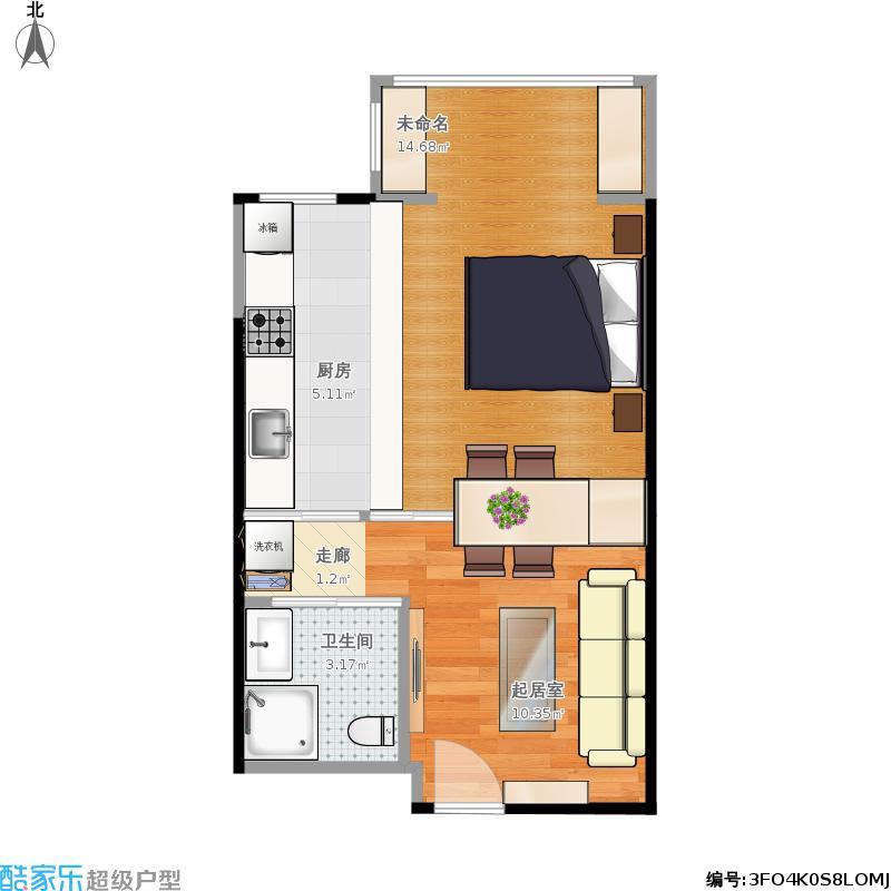 户型设计 蕙兰美一居室户型  北京 东亚上北中心 套内面积:33.