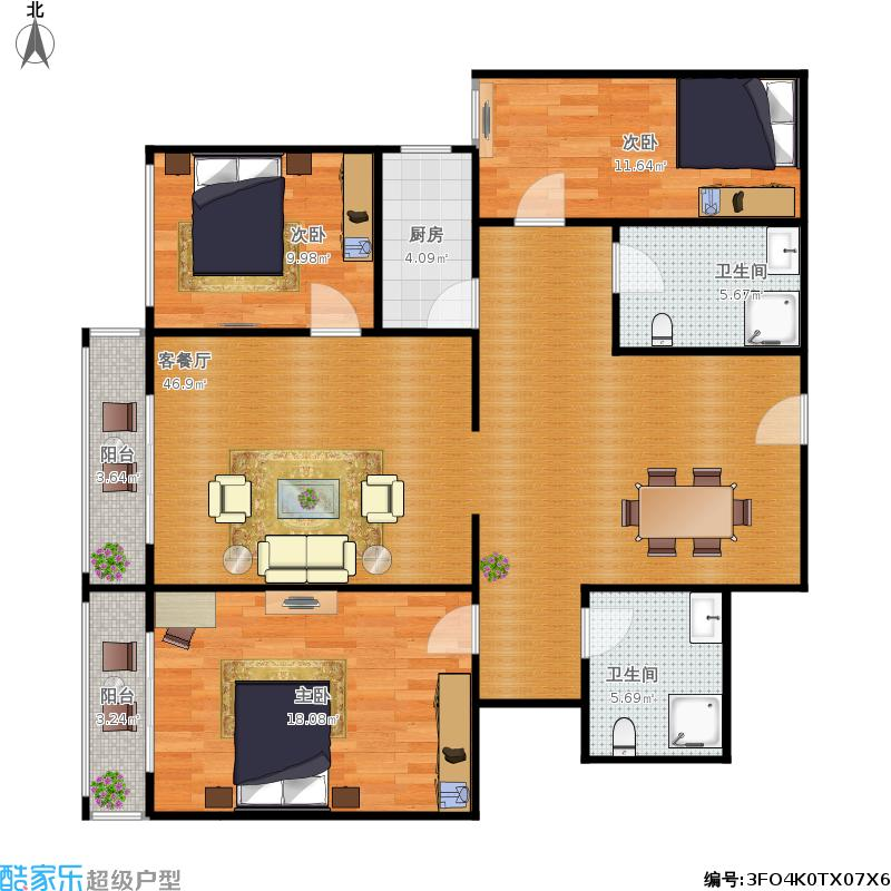 华腾园三室两厅132平米户型图大全,装修户型图,户型图