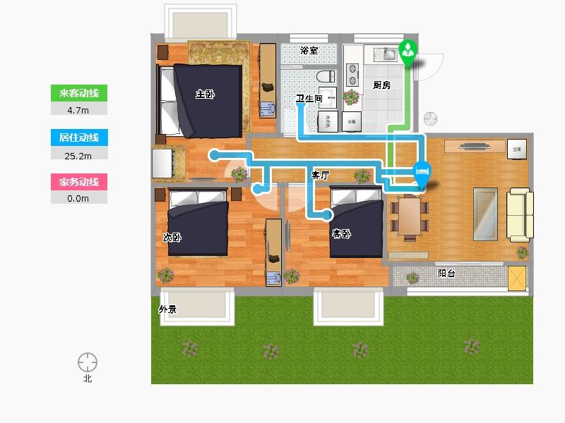 農村三間二層平房樓梯設計圖展示圖片
