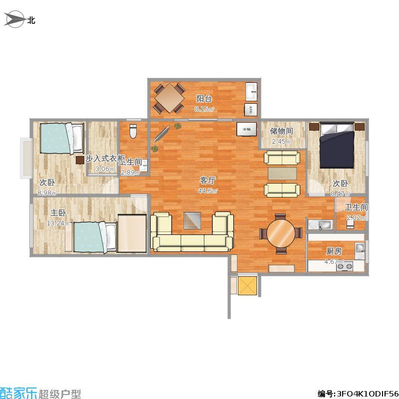 户型设计 138大户型  湖北 十堰 锦绣翰林 套内面积:98.