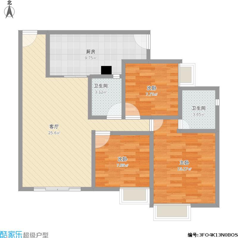 户型设计 a6三室二厅双卫  四川 达州 鹏夏尚城 套内面积:70.