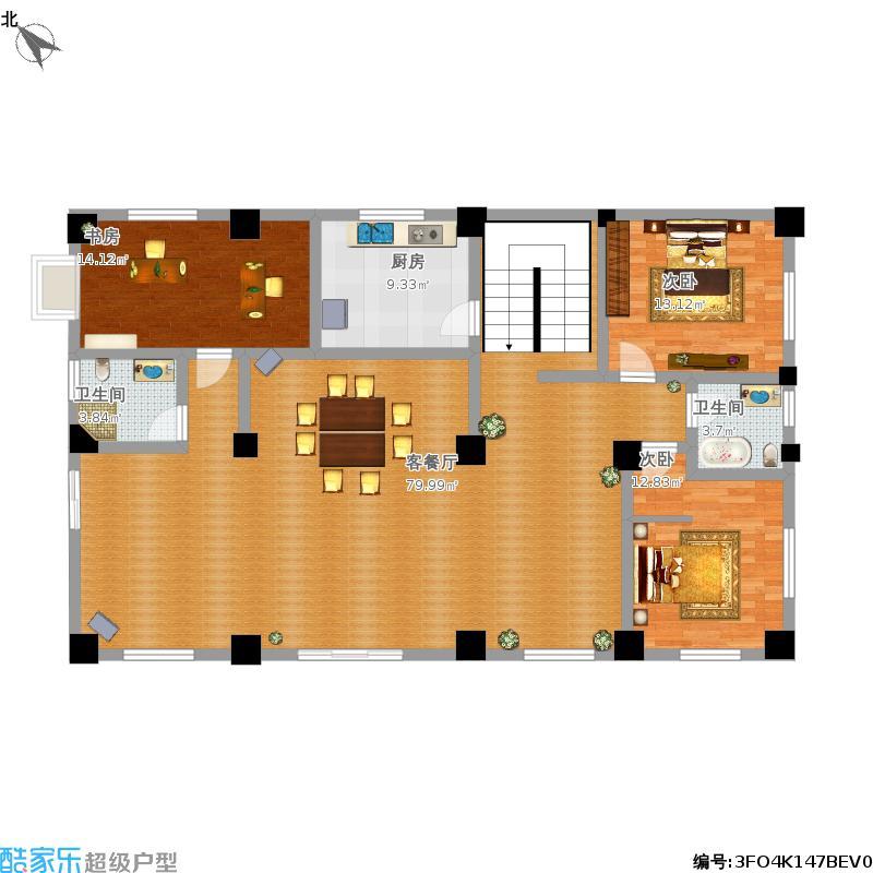 户型设计 正方形1楼  套内面积:136.