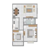 复制的方案_全威锦园85方A2户型两室两厅客厅