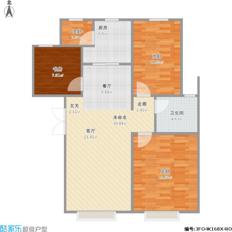 户型设计 富力城117户型图  内蒙古 包头 富力城 套内面积:76.