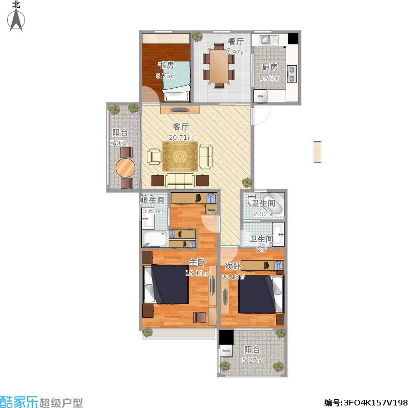 户型设计 西溪丽晶居三室两厅  浙江 杭州 欧美金融城(efc) 套内面积
