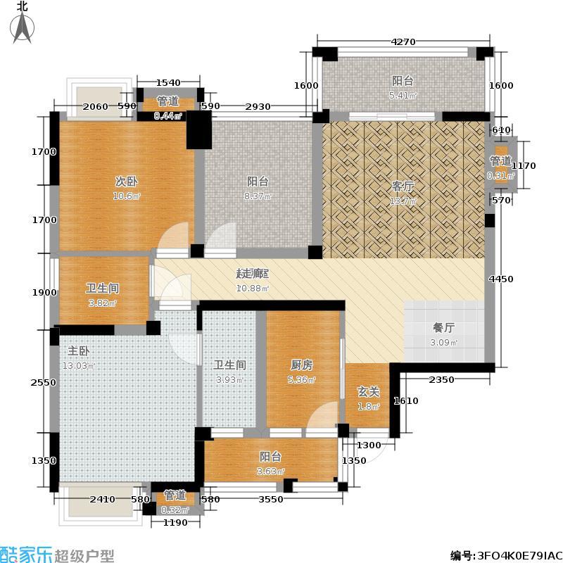 中铁塔米亚107.90㎡一期2号楼标准层h1户型