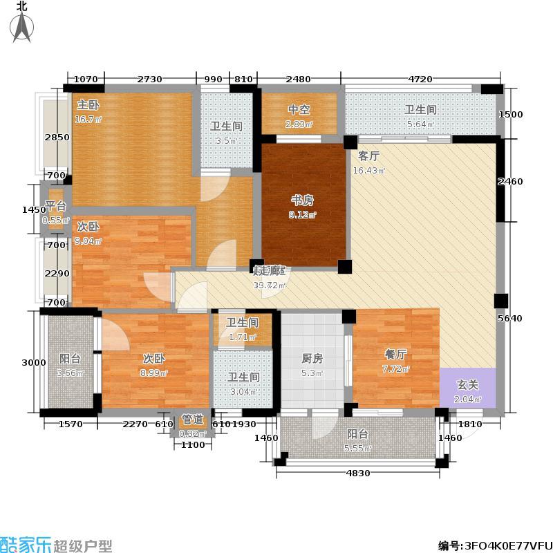 中铁塔米亚140.57㎡一期4号楼标准层k1户型