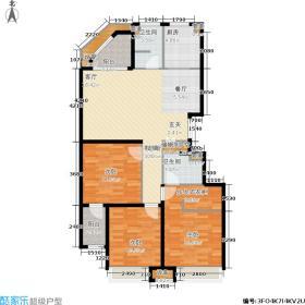 外滩一号花园B2户型 3室2厅2卫1厨 110-119平米户型