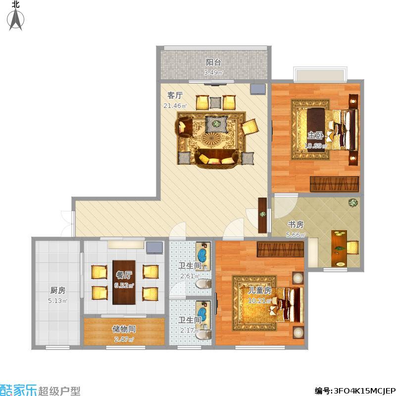 户型设计 三室两厅一卫-副本  内蒙古 赤峰 宝山仕家 套内面积:70.