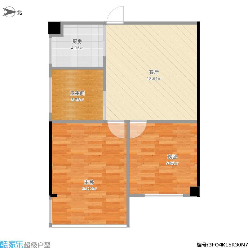 户型设计 湖西街小区两室一厅  江苏 南京 湖西街小区 套内面积:54.