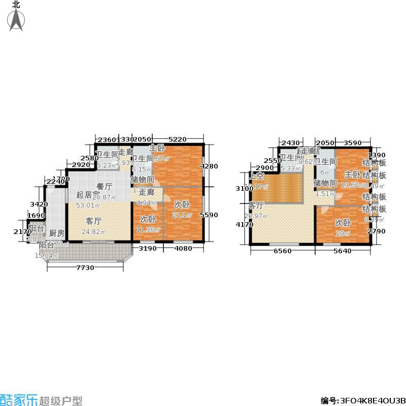雅安国际商务公寓257.39㎡复式户五室两厅四卫户型图片