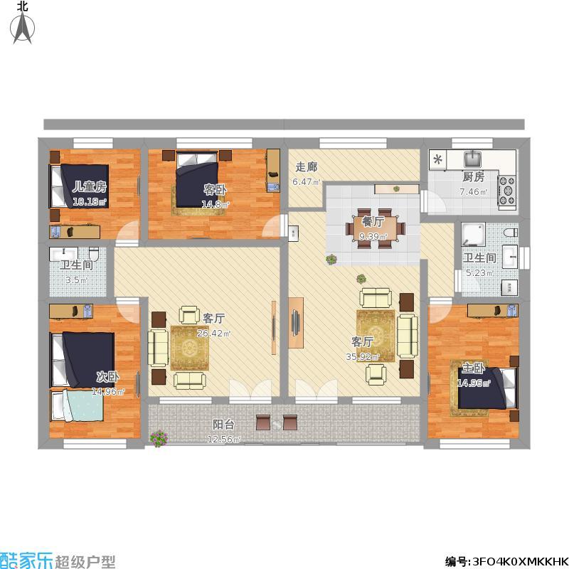 农村长方形四间楼房设计图展示图片