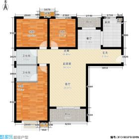 福润大舜天城126.00㎡B7户型3室2厅2卫