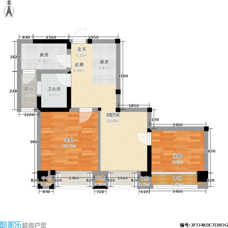 中铁塔米亚84.00㎡二期15号楼标准层b1户型